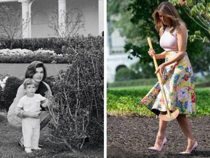 A la izquierda, Jackie Kennedy con John Fitzgerald Kennedy Jr. en el Rose Garden de la Casa Blanca durante la recepción al entonces primer ministro de Algeria, Ahmed Ben Bella, en octubre de 1962. A la derecha, Melania Trump, en agosto de 2018, plantando un retoño del roble Eisenhower, que había sido retirado de los terrenos del palacio presidencial el año anterior. |