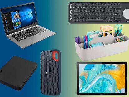 Portátiles, discos duros, tablets, periféricos, organizadores y otros artículos para el teletrabajo.