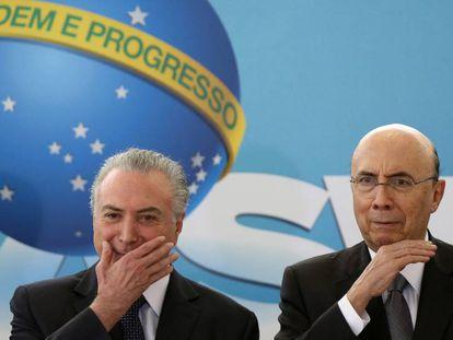 Presidente Michel Temer y el ministro de la Hacienda, Henrique Meirelles, durante evento en el Planalto.