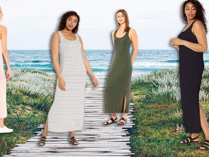 Algunos de los colores en los que puede encontrarse este vestido largo sin mangas.