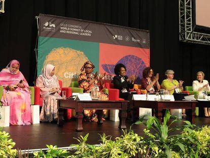 Mujeres alcadesas durante el Congreso Mundial de CGLU en Durban.
