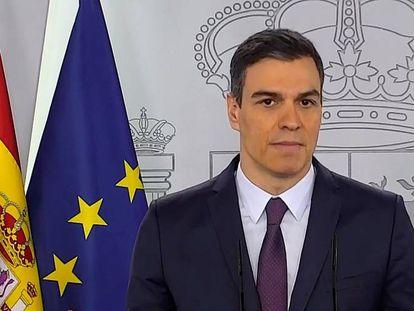 El presidente del Gobierno, Pedro Sánchez, durante la rueda de prensa de este sábado.