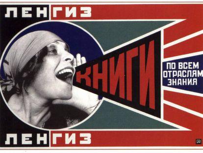 Lili Brik retratada por Rodchenko en un fotomontaje propagandístico de la Rusia soviética. El cartel es una de las obras más célebres del constructivismo.
