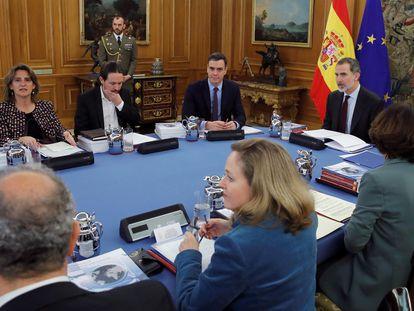 Reunión del Consejo de Seguridad Nacional, presidido por el Rey en el Palacio de la Zarzuela, el pasado 4 de marzo.