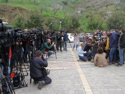 Ángel García, el ingeniero coordinador del rescate de Julen, hablando con la prensa en Málaga.