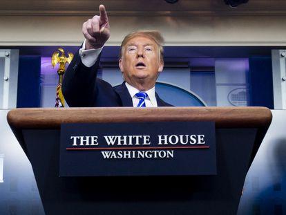 El presidente de EE UU, Donald Trump, durante la comparecencia del jueves.