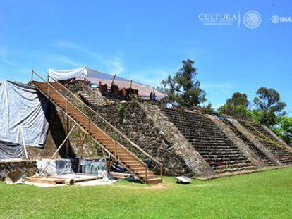 El sismo afectó a la pirámide de Teopanzolco, durante los trabajos de restauración aparecieron los vestigios de otra estructura arquitectónica