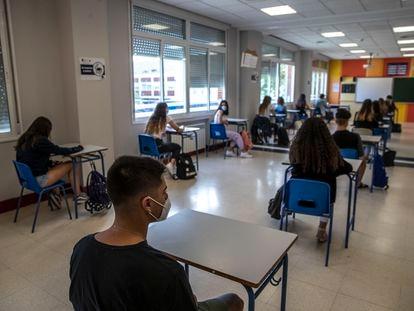 Alumnos de segundo de Bachillerato en un colegio de Madrid.