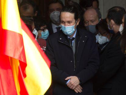 El vicepresidente Pablo Iglesias, este domingo, en el acto de aniversario de la Constitución.