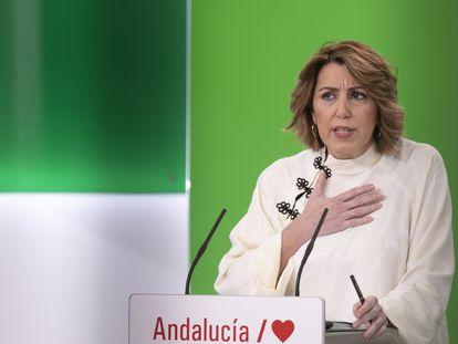 La secretaria general del PSOE-A, Susana Díaz, en una rueda de prensa en Sevilla en enero.
