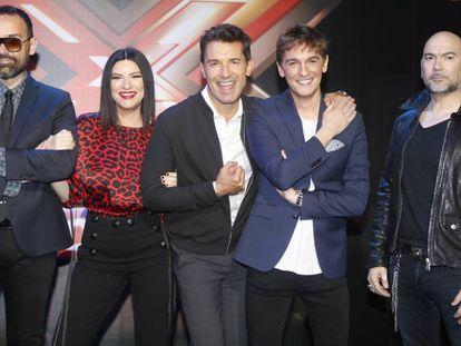 Risto Mejide, Laura Pausini, Jesús Vázquez, Xavi Martinez y Fernando Montesinos en la presentación de 'Factor X'.