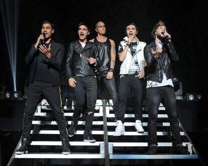 Siva Kaneswaran, Tom Parker, Max George, Nathan Sykes y Jay McGuiness, miembros de The Wanted, durante un concierto en Miami en 2014.