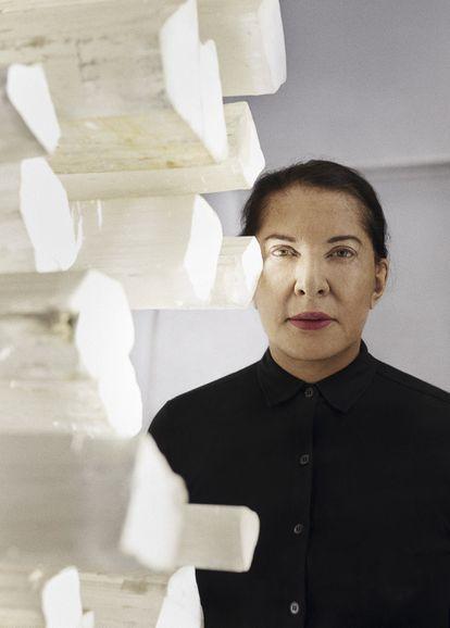 Marina Abramovic, fotografiada en los talleres de Factum Arte, en Madrid, este verano.