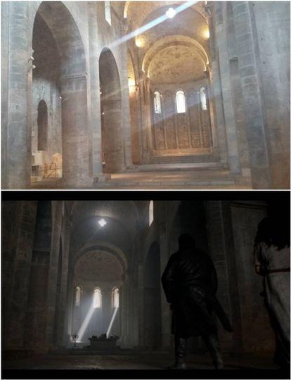 El monasterio de Sant Pere de Galligants es la entrada de la Biblioteca de Antigua en la serie.