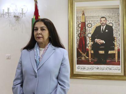 La embajadora marroquí en España, Karima Benyaich, en la sede del ministerio de Exteriores en al capital marroquí este jueves.