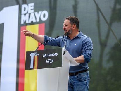 El líder de Vox, Santiago Abascal, en el acto del sindicato ultra Solidaridad con motivo del 1º de mayo.