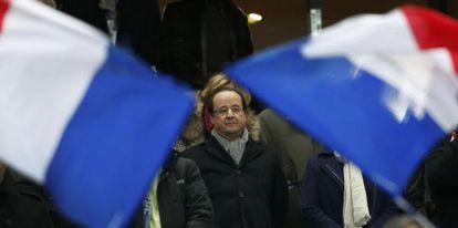 Hollande, antes del partido de Francia ante Ucrania.