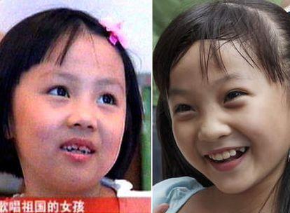 A la izquierda la niña que realmente cantó en la inauguración de los Juegos; a la derecha, la menor que salió a escena e hizo 'play back'