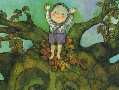 Una ilustración de Viví Escrivá para el libro 'El niño y el árbol' (Jucar).