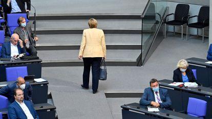 Angela Merkel el pasado 7 de septiembre al abandonar el Parlamento alemán.