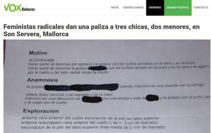 El supuesto parte médico (ya eliminado) con el que Vox difundió la noticia falsa de un inexistente ataque de feministas a tres chicas en Baleares.
