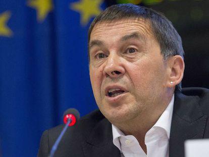 Otegi durante su intervención en el Parlamento Europeo.