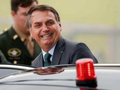 El presidente Bolsonaro la semana pasada sale de su residencia en Brasilia.