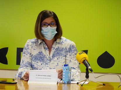 La alcaldesa de Móstoles, Noelia Posse, en la rueda de prensa de esta mañana en el Ayuntamiento.