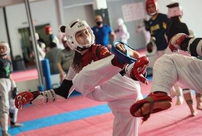 Adirana Cerezo, el pasado miércoles durante un entrenamiento de preparación para el preolímpico.