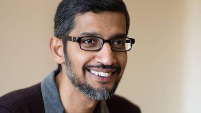 Sundar Pichai, consejero delegado de Google, durante la entrevista en la sede de la empresa en Mountain View (California).