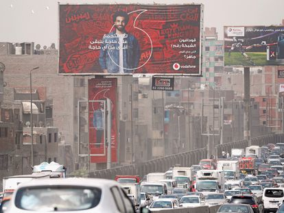 Un cartel de Vodafone en El Cairo.