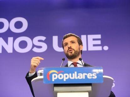 Pablo Casado, este lunes, en rueda de prensa en la sede del PP.