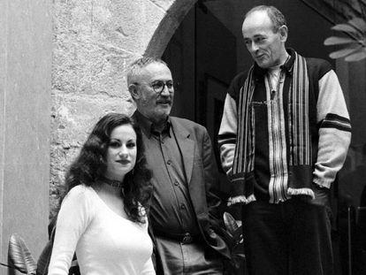Yolanda Castaño, Jaume Pérez Muntaner y Andolin Eguzkitza, en Morella (Castellón), en 1999.