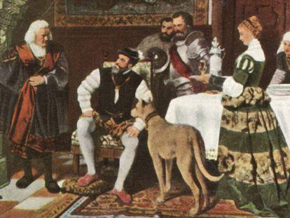 Carlos V con los Fugger en Augsburgo, en una pintura del sigo XVI.