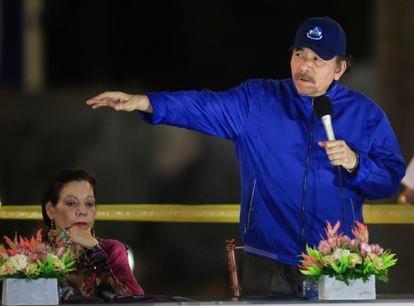 Daniel Ortega junto a su esposa y vicepresidenta, Rosario Murillo, en una imagen de marzo de 2019, en Managua.