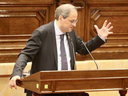 Quim Torra, este jueves en el Parlament.