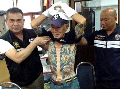 Arresto en 2018 de Shigeharu Shirai, exlíder de la yakuza japonesa, en Tailandia.