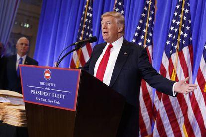 Donald Trump durante la conferencia de prensa.