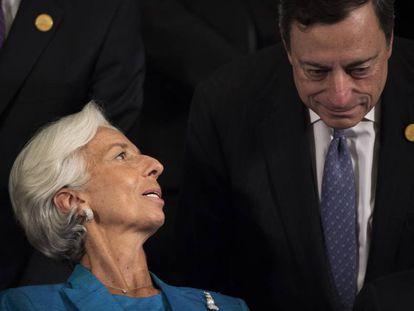 La exdirectora del FMI, Christine Lagarde, y el presidente del BCE, Mario Draghi, en un G20.