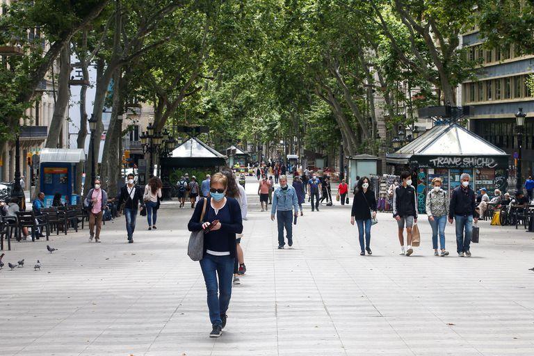 Aspecto de las Ramblas de Barcelona este lunes.