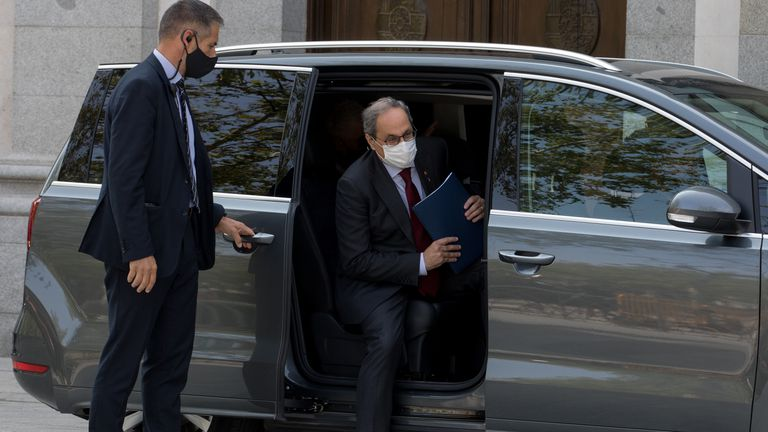 Quim Torra, a la salida del Tribunal Supremo este jueves.