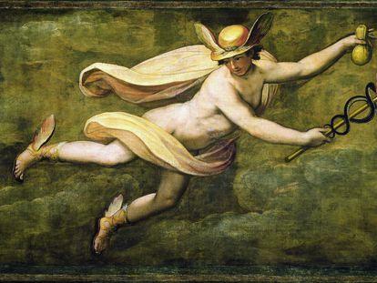 El dios Mercurio, semidesnudo y cubierto por una tela amarilla, con sandalias aladas y serpientes entrelazadas en la mano (Galería de los Uffizi, Florencia, Italia).