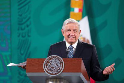 Andrés Manuel López Obrador, durante una rueda de prensa en el Palacio Nacional