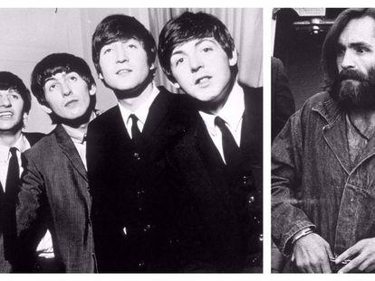 A la izquierda, los Beatles en una imagen de 1964. A la derecha, Charles Manson durante el juicio por los asesinatos Tate/LaBianca en 1969.