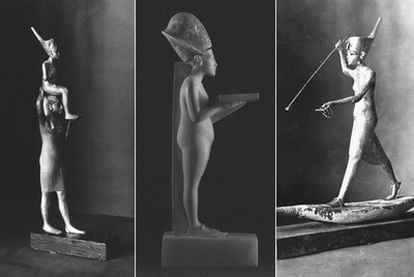 Dos estatuillas de Tutankamón y una de Akenatón (en el centro), robadas del Museo Egipcio de El Cairo.