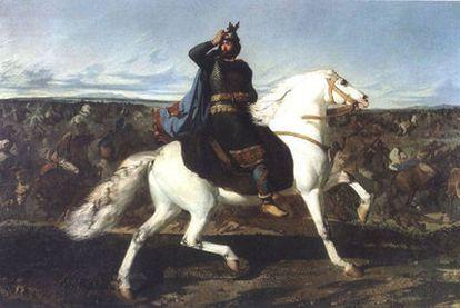 <i>Don Rodrigo cabalgando a lomos de un caballo blanco en la batalla del Guadalete</i> (1858), óleo de Marcelino de Unceta y López.