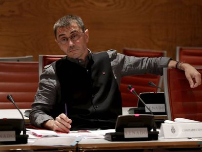 Juan Carlos Monedero durante su comparecencia en la comisión de investigación sobre la financiación de los partidos políticos.