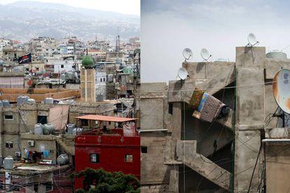 Vista general y detalle del barrio de Shatila, uno de los campos de refugiados palestinos más antiguos fuera de Palestina, carcaterizado por una arquitectira de hormigón de estilo brutalista árabe.  