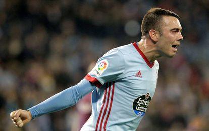 Iago Aspas celebra su gol al Barcelona.