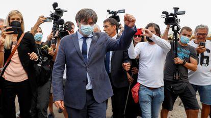 El expresidente de la Generalitat, Carles Puigdemont, en Alguero, Italia.